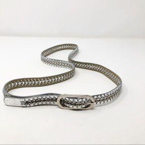 Accessories - Nine West Vegan Leather Silver Metalic Belt XL